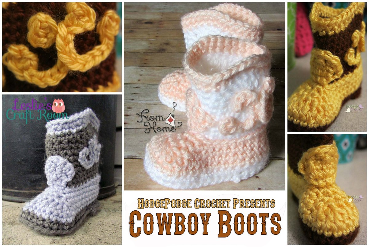Free crochet pattern for infant cowboy boots dancox for cowboy boots revisited hodgepodge crochet free crochet pattern bankloansurffo Images