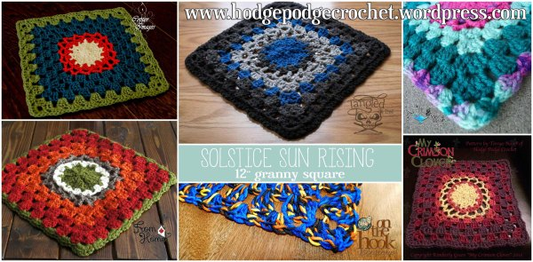 "https://hodgepodgecrochet.wordpress.com Solstice Sun Rising 12"" Granny Square"