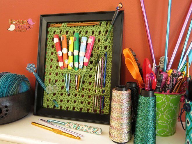 www.hodgepodgecrochet.wordpress.com :: Framed Hook Holder :: The Pattern Pack :: April 2015 GO GREEN
