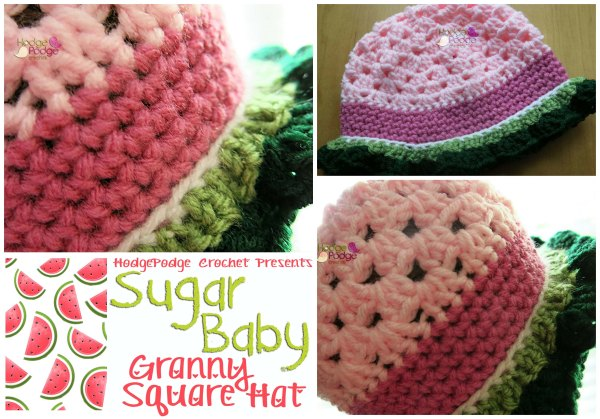 HodgePodge Crochet Presents: Sugar Baby Granny Square Hat